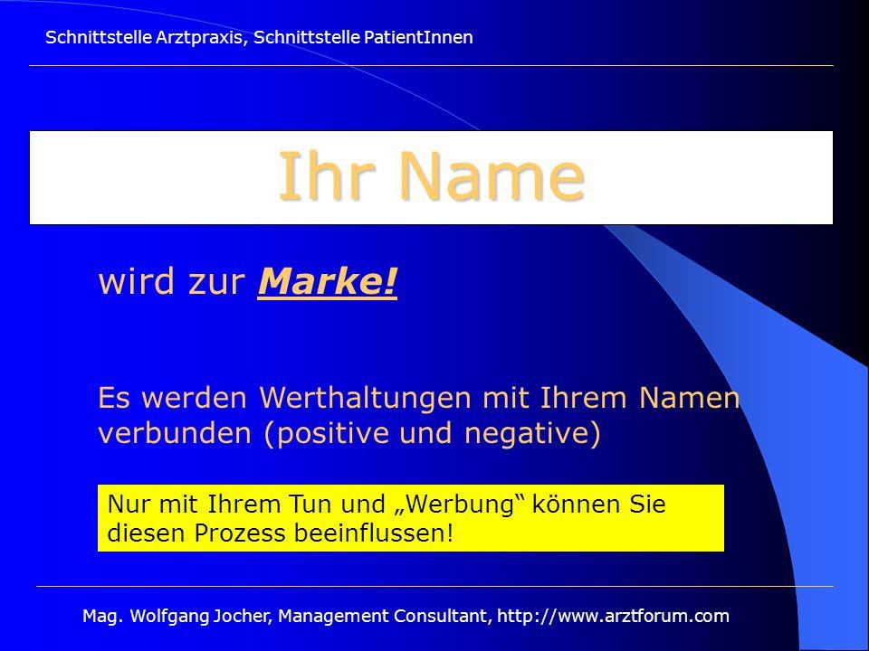 Schnittstelle Arztpraxis, Schnittstelle PatientInnen Mag. Wolfgang Jocher, Management Consultant, http://www.arztforum.com Ihr Name wird zur Marke! Es