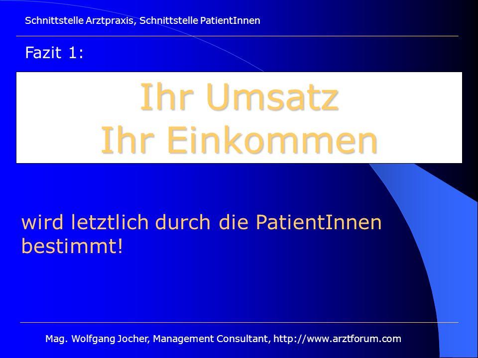 Schnittstelle Arztpraxis, Schnittstelle PatientInnen Mag. Wolfgang Jocher, Management Consultant, http://www.arztforum.com Ihr Umsatz Ihr Einkommen wi