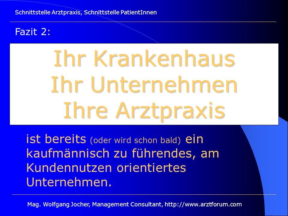 Schnittstelle Arztpraxis, Schnittstelle PatientInnen Mag. Wolfgang Jocher, Management Consultant, http://www.arztforum.com Ihr Krankenhaus Ihr Unterne