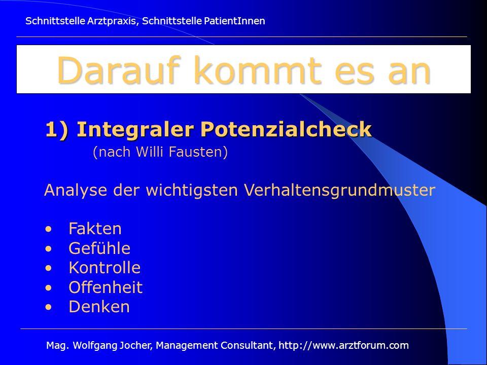 Schnittstelle Arztpraxis, Schnittstelle PatientInnen Mag. Wolfgang Jocher, Management Consultant, http://www.arztforum.com Darauf kommt es an 1) Integ