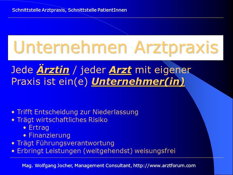 Schnittstelle Arztpraxis, Schnittstelle PatientInnen Mag. Wolfgang Jocher, Management Consultant, http://www.arztforum.com Unternehmen Arztpraxis Ärzt
