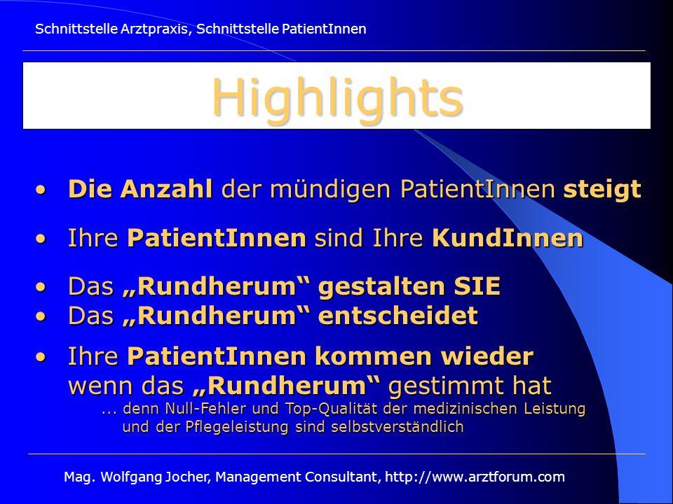 Schnittstelle Arztpraxis, Schnittstelle PatientInnen Mag. Wolfgang Jocher, Management Consultant, http://www.arztforum.com Highlights Die Anzahl der m
