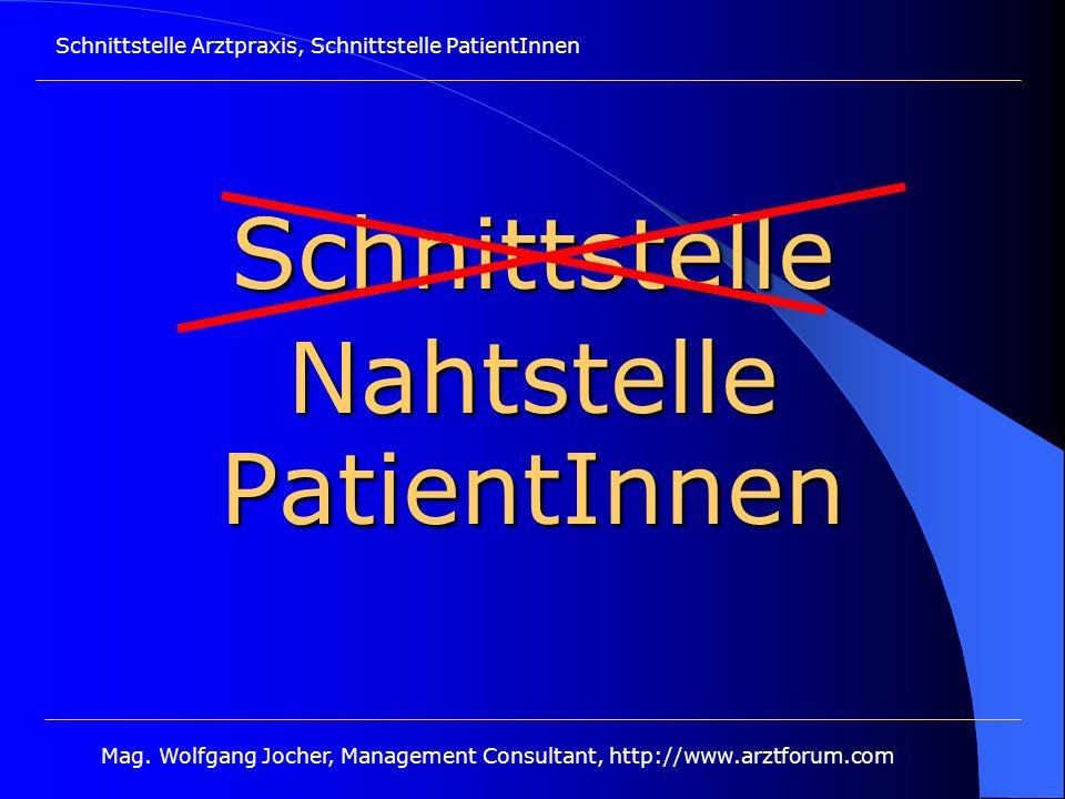 Schnittstelle Arztpraxis, Schnittstelle PatientInnen Mag. Wolfgang Jocher, Management Consultant, http://www.arztforum.com SchnittstellePatientInnen N