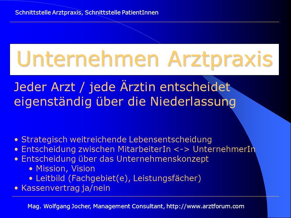 Schnittstelle Arztpraxis, Schnittstelle PatientInnen Mag. Wolfgang Jocher, Management Consultant, http://www.arztforum.com Unternehmen Arztpraxis Jede