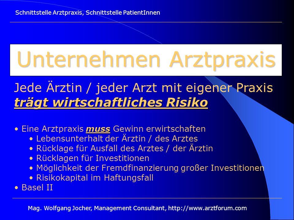 Schnittstelle Arztpraxis, Schnittstelle PatientInnen Mag. Wolfgang Jocher, Management Consultant, http://www.arztforum.com Unternehmen Arztpraxis träg