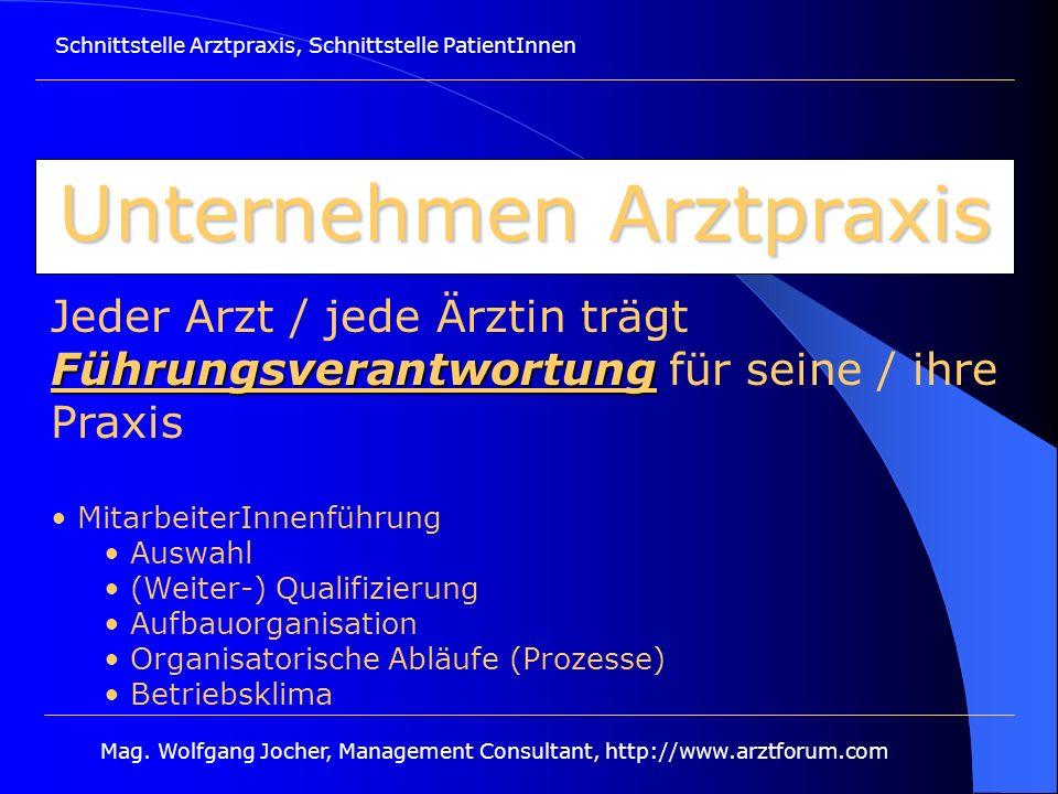Schnittstelle Arztpraxis, Schnittstelle PatientInnen Mag. Wolfgang Jocher, Management Consultant, http://www.arztforum.com Unternehmen Arztpraxis Führ