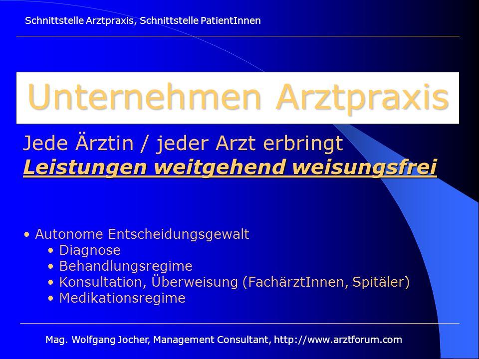 Schnittstelle Arztpraxis, Schnittstelle PatientInnen Mag. Wolfgang Jocher, Management Consultant, http://www.arztforum.com Unternehmen Arztpraxis Leis