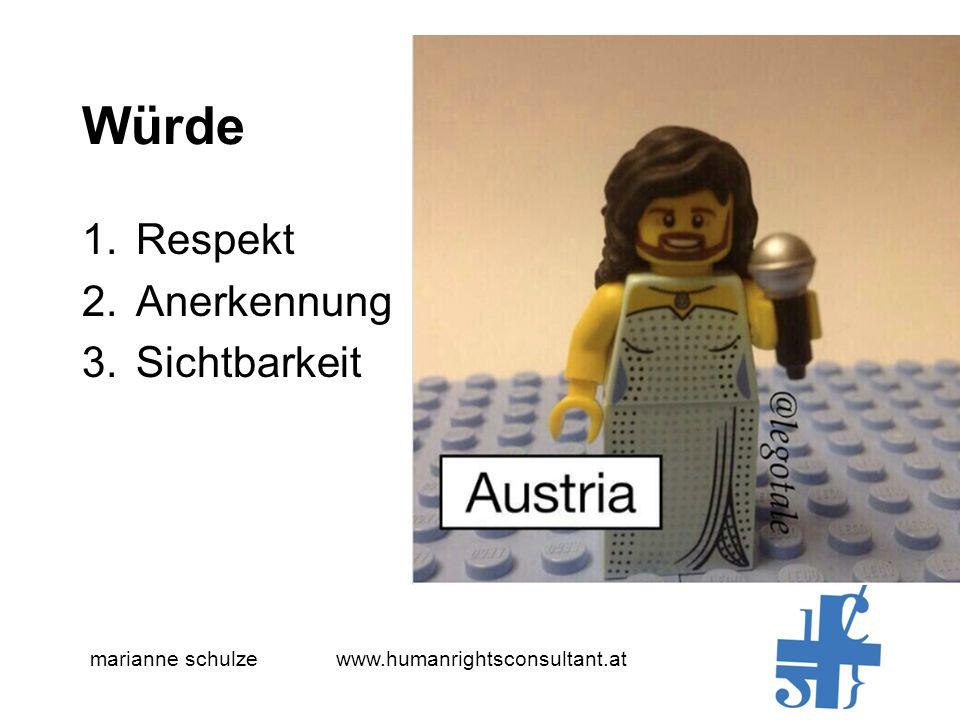 marianne schulze www.humanrightsconsultant.at Würde 1.Respekt 2.Anerkennung 3.Sichtbarkeit