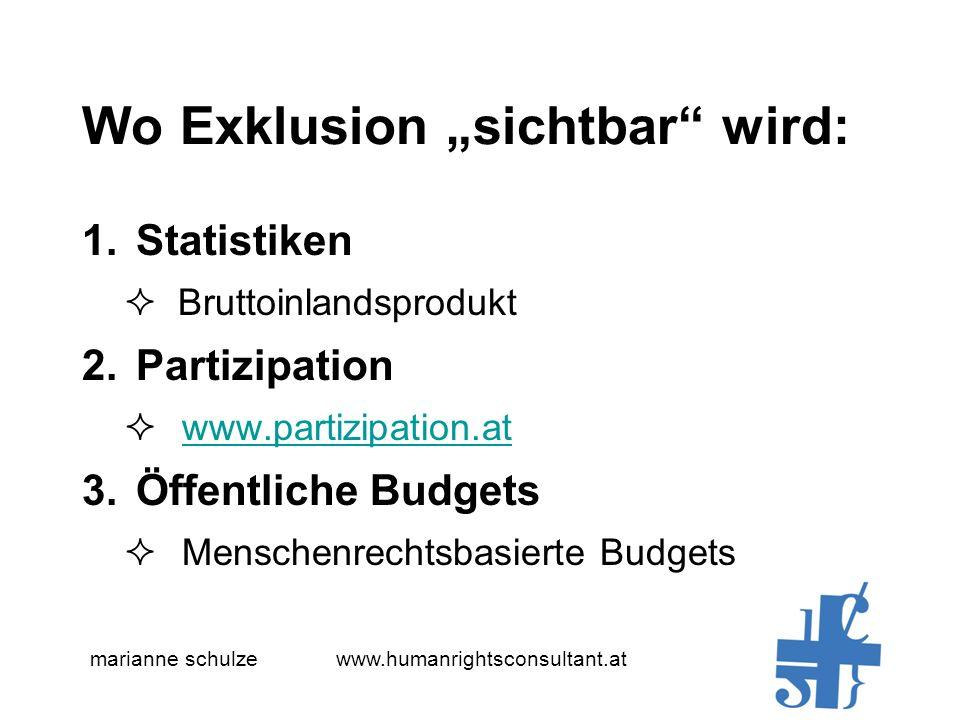 marianne schulze www.humanrightsconsultant.at Wo Exklusion sichtbar wird: 1.Statistiken Bruttoinlandsprodukt 2.Partizipation www.partizipation.at 3.Öffentliche Budgets Menschenrechtsbasierte Budgets