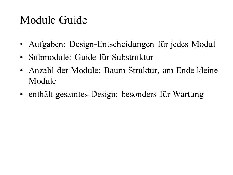 Module Guide Aufgaben: Design-Entscheidungen für jedes Modul Submodule: Guide für Substruktur Anzahl der Module: Baum-Struktur, am Ende kleine Module