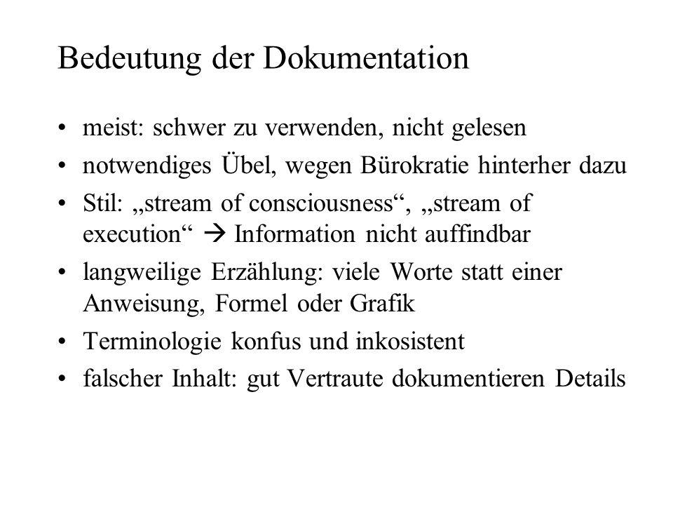 Bedeutung der Dokumentation meist: schwer zu verwenden, nicht gelesen notwendiges Übel, wegen Bürokratie hinterher dazu Stil: stream of consciousness,