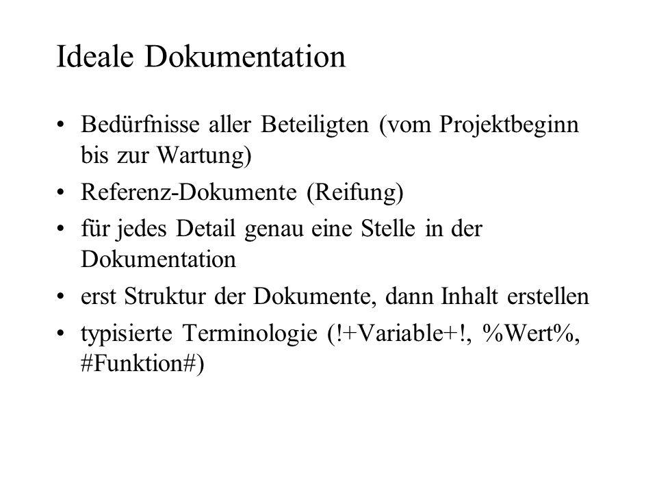 Ideale Dokumentation Bedürfnisse aller Beteiligten (vom Projektbeginn bis zur Wartung) Referenz-Dokumente (Reifung) für jedes Detail genau eine Stelle