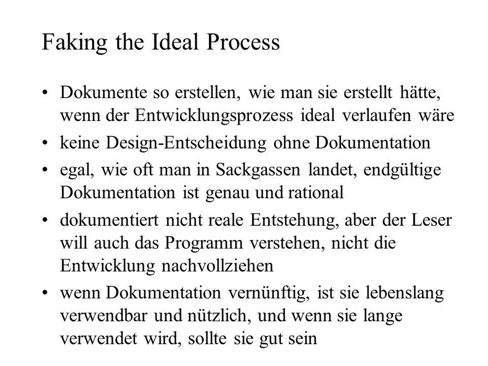 Faking the Ideal Process Dokumente so erstellen, wie man sie erstellt hätte, wenn der Entwicklungsprozess ideal verlaufen wäre keine Design-Entscheidu