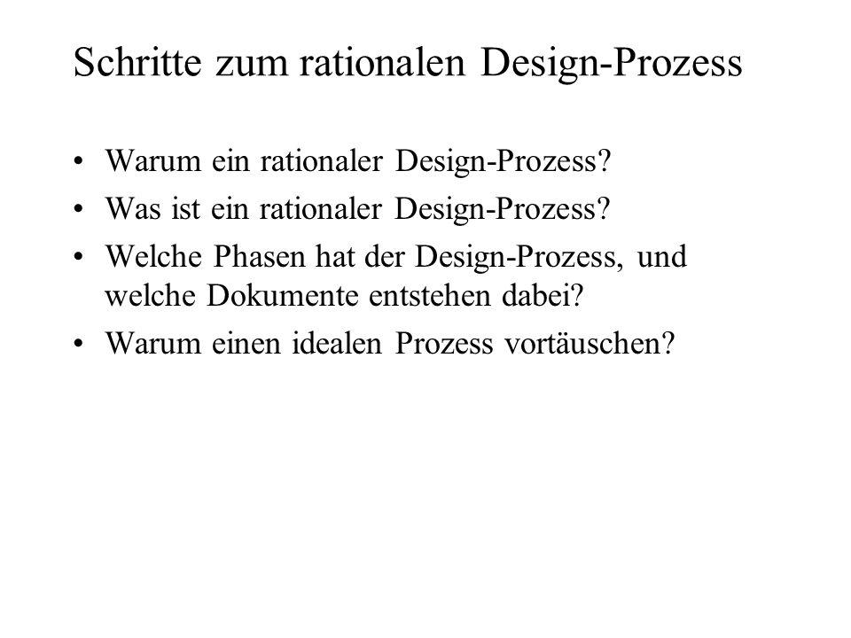 Schritte zum rationalen Design-Prozess Warum ein rationaler Design-Prozess? Was ist ein rationaler Design-Prozess? Welche Phasen hat der Design-Prozes