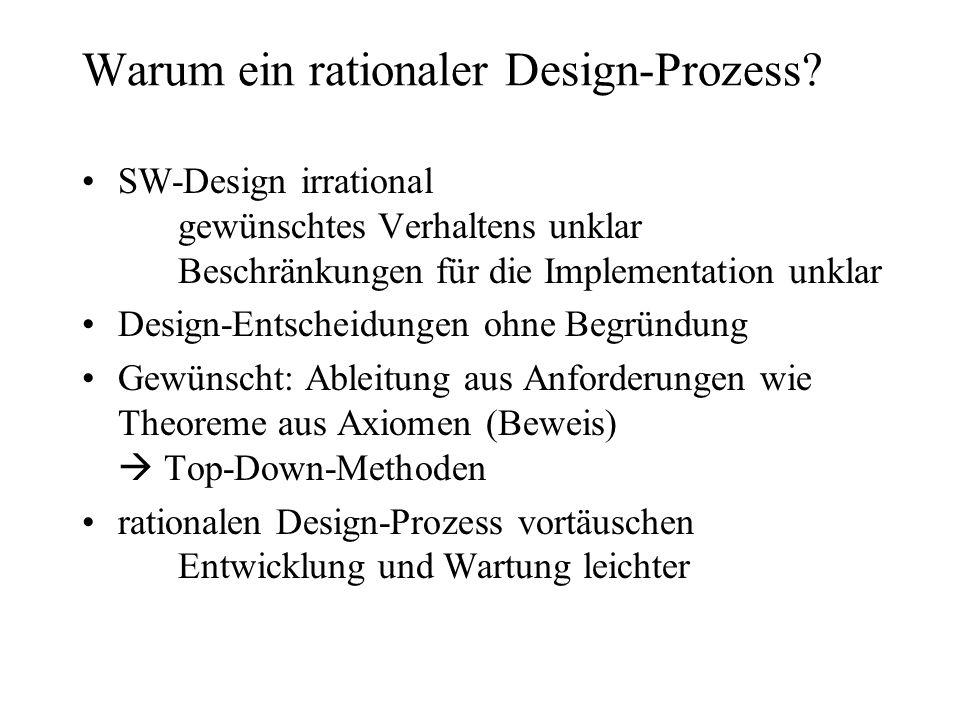 Warum ein rationaler Design-Prozess? SW-Design irrational gewünschtes Verhaltens unklar Beschränkungen für die Implementation unklar Design-Entscheidu