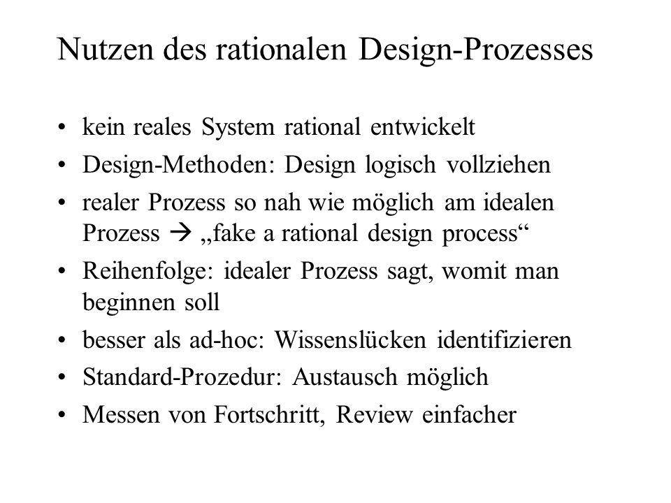 Nutzen des rationalen Design-Prozesses kein reales System rational entwickelt Design-Methoden: Design logisch vollziehen realer Prozess so nah wie mög