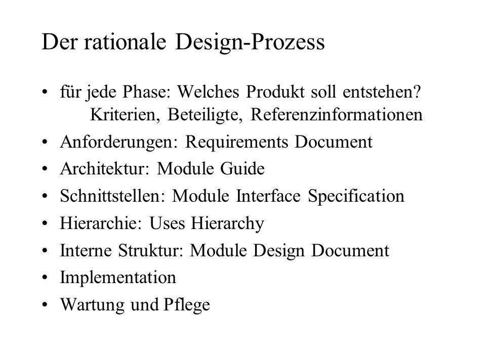 Der rationale Design-Prozess für jede Phase: Welches Produkt soll entstehen? Kriterien, Beteiligte, Referenzinformationen Anforderungen: Requirements