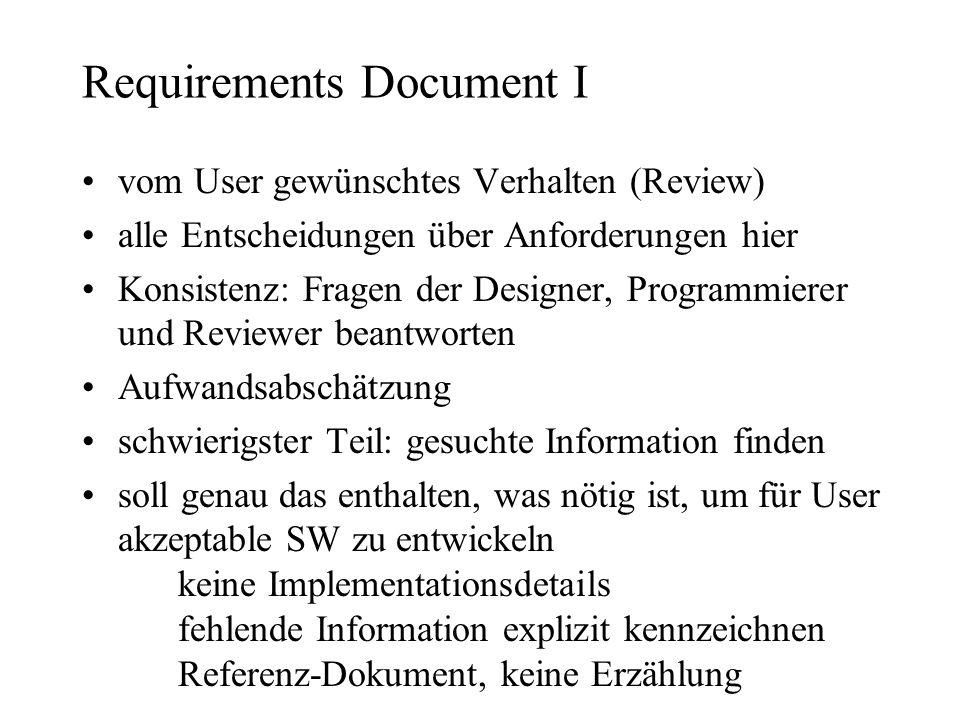 Requirements Document I vom User gewünschtes Verhalten (Review) alle Entscheidungen über Anforderungen hier Konsistenz: Fragen der Designer, Programmi