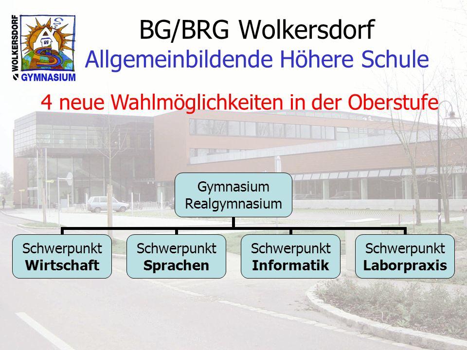 BG/BRG Wolkersdorf Allgemeinbildende Höhere Schule Gymnasium Realgymnasium Schwerpunkt Wirtschaft Schwerpunkt Sprachen Schwerpunkt Informatik Schwerpu