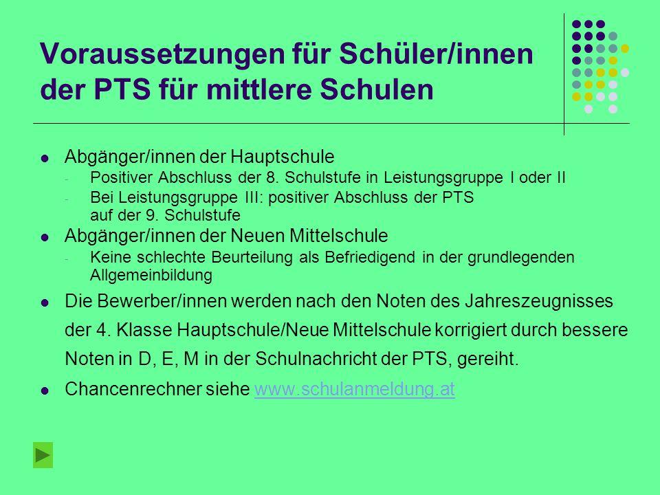 Voraussetzungen für Schüler/innen der PTS für höhere Schulen Für das ORG: - Für Abgänger/innen der Neuen Mittelschule: In Mathematik, Englisch und Deutsch beurteilt nach der Vertiefung.