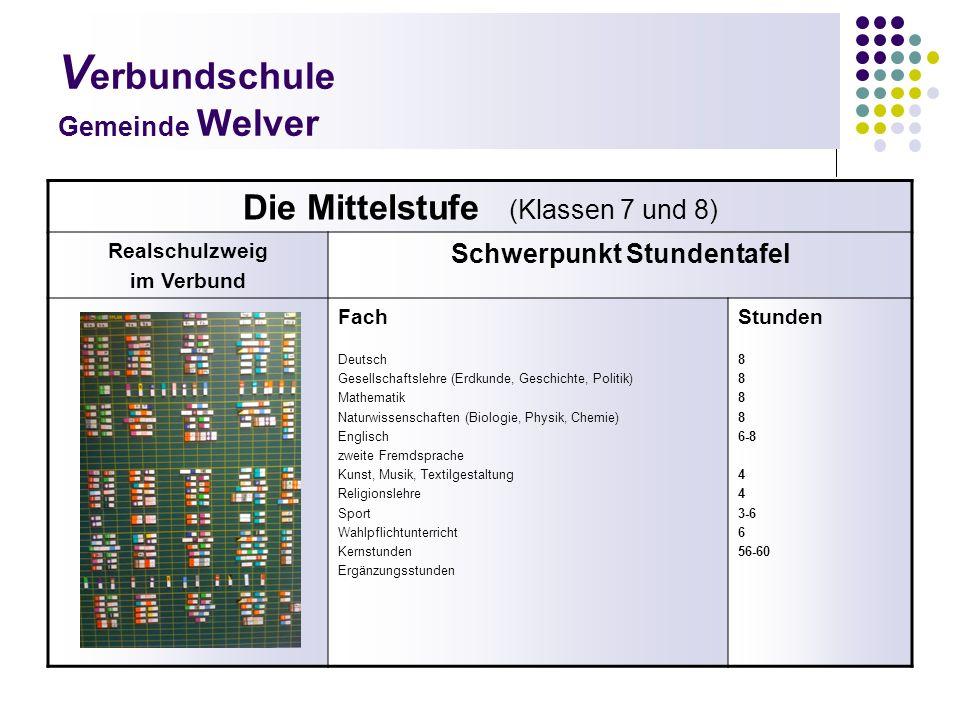 V erbundschule Gemeinde Welver Die Mittelstufe (Klassen 7 und 8) Realschulzweig im Verbund Schwerpunkt Stundentafel Fach Deutsch Gesellschaftslehre (E