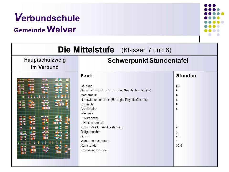 V erbundschule Gemeinde Welver Die Mittelstufe (Klassen 7 und 8) Hauptschulzweig im Verbund Schwerpunkt Stundentafel Fach Deutsch Gesellschaftslehre (