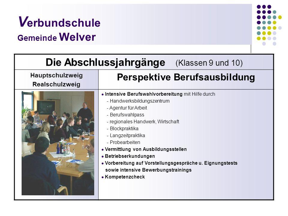 V erbundschule Gemeinde Welver Die Abschlussjahrgänge (Klassen 9 und 10) Hauptschulzweig Realschulzweig Perspektive Berufsausbildung Intensive Berufsw