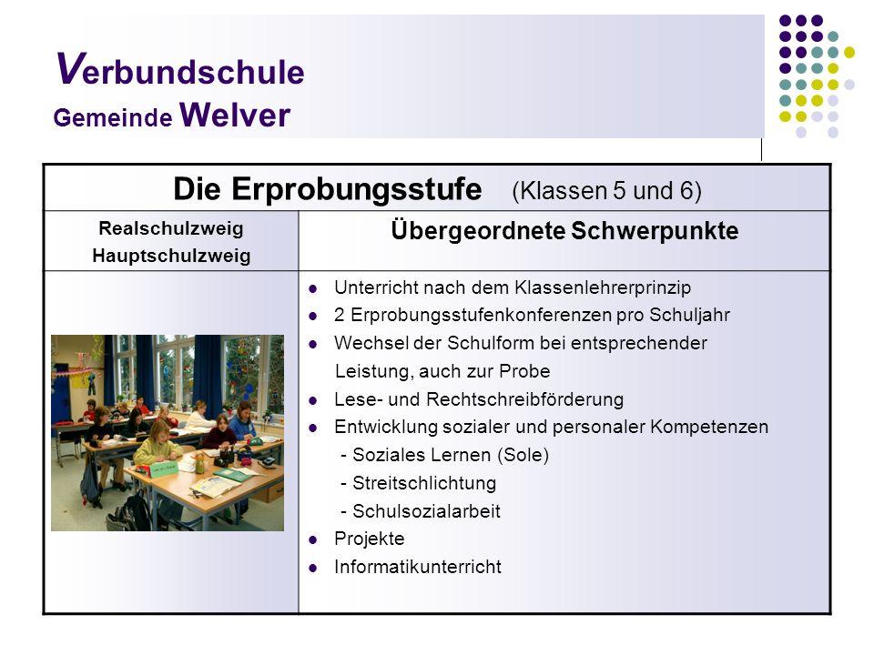 V erbundschule Gemeinde Welver Die Erprobungsstufe (Klassen 5 und 6) Realschulzweig Hauptschulzweig Übergeordnete Schwerpunkte Unterricht nach dem Kla
