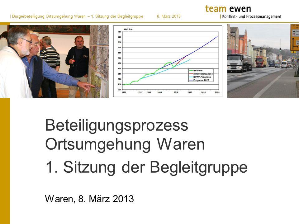 | Bürgerbeteiligung Ortsumgehung Waren – 1. Sitzung der Begleitgruppe8. März 2013 Beteiligungsprozess Ortsumgehung Waren 1. Sitzung der Begleitgruppe