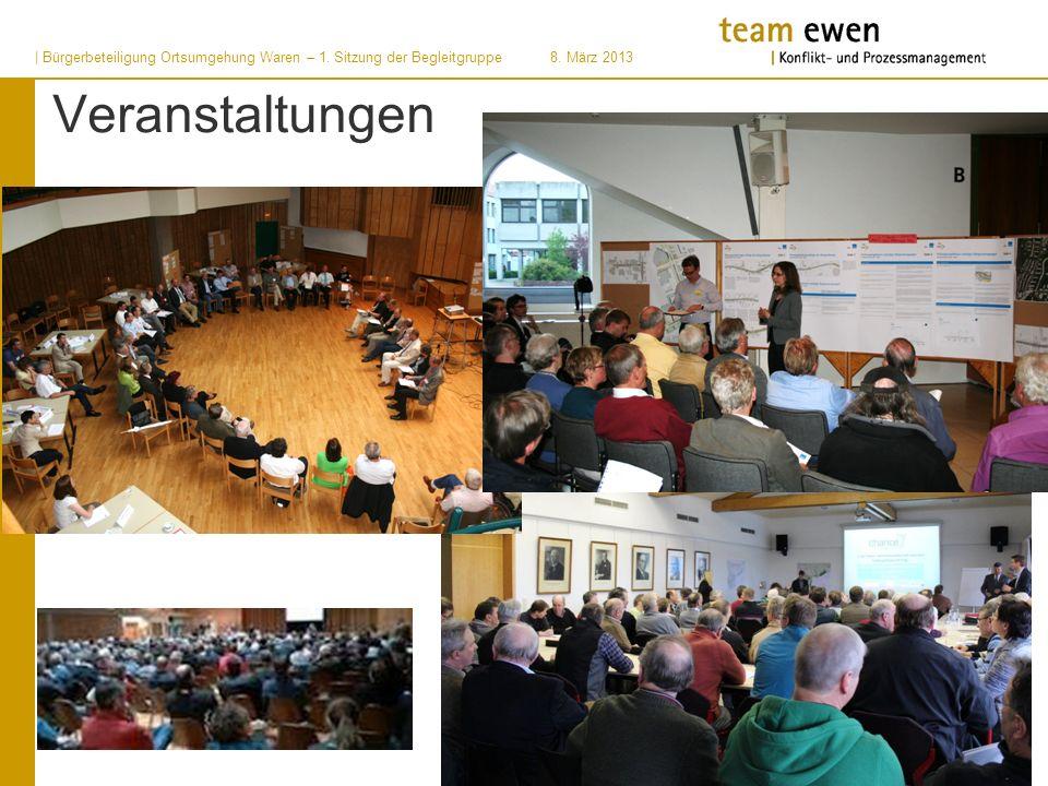 | Bürgerbeteiligung Ortsumgehung Waren – 1. Sitzung der Begleitgruppe8. März 2013 Veranstaltungen
