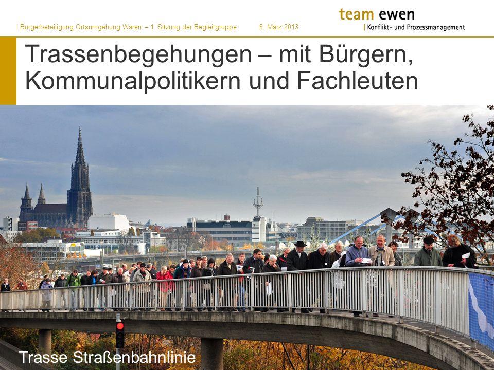 | Bürgerbeteiligung Ortsumgehung Waren – 1. Sitzung der Begleitgruppe8. März 2013 Trassenbegehungen – mit Bürgern, Kommunalpolitikern und Fachleuten T