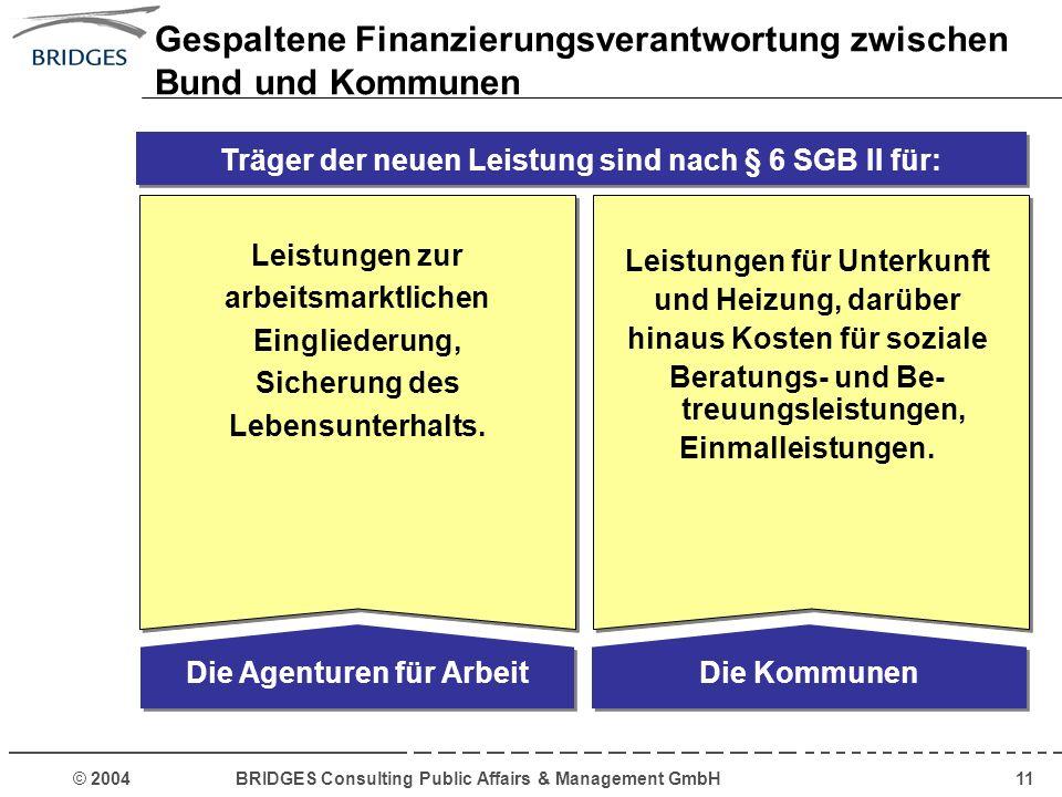 © 2004 BRIDGES Consulting Public Affairs & Management GmbH11 Die Agenturen für Arbeit Leistungen zur arbeitsmarktlichen Eingliederung, Sicherung des L