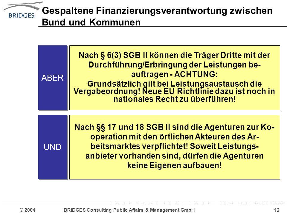 © 2004 BRIDGES Consulting Public Affairs & Management GmbH12 ABER Nach § 6(3) SGB II können die Träger Dritte mit der Durchführung/Erbringung der Leis