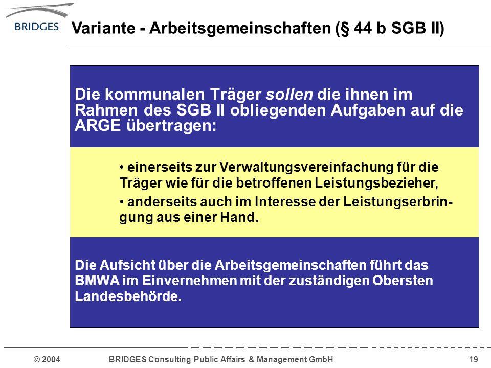 © 2004 BRIDGES Consulting Public Affairs & Management GmbH19 Die kommunalen Träger sollen die ihnen im Rahmen des SGB II obliegenden Aufgaben auf die