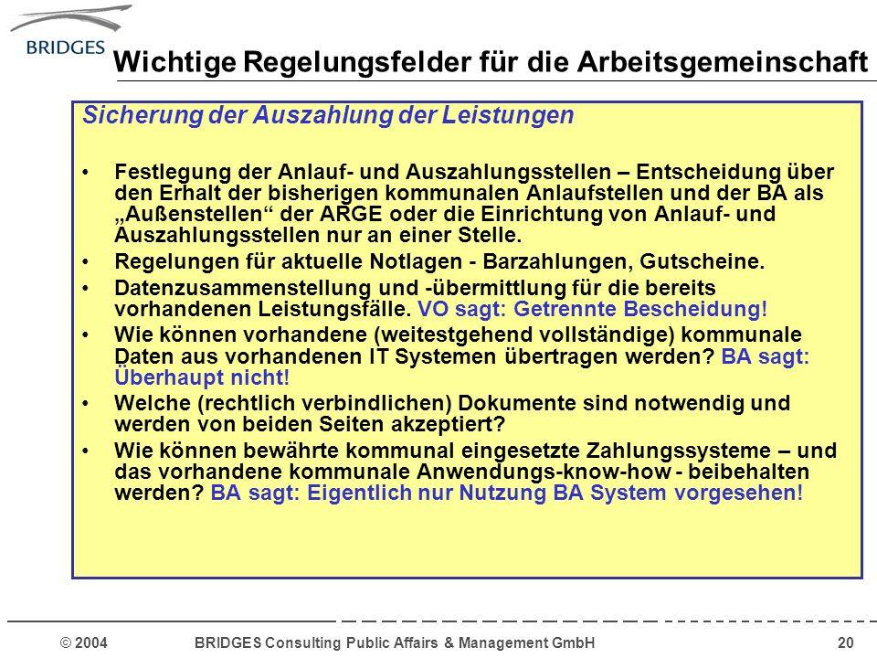 © 2004 BRIDGES Consulting Public Affairs & Management GmbH20 Wichtige Regelungsfelder für die Arbeitsgemeinschaft Sicherung der Auszahlung der Leistun
