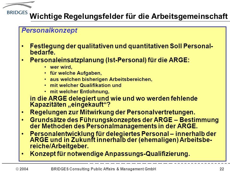 © 2004 BRIDGES Consulting Public Affairs & Management GmbH22 Wichtige Regelungsfelder für die Arbeitsgemeinschaft Personalkonzept Festlegung der quali