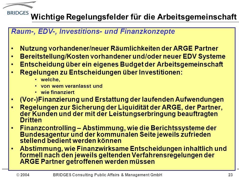© 2004 BRIDGES Consulting Public Affairs & Management GmbH23 Wichtige Regelungsfelder für die Arbeitsgemeinschaft Raum-, EDV-, Investitions- und Finan