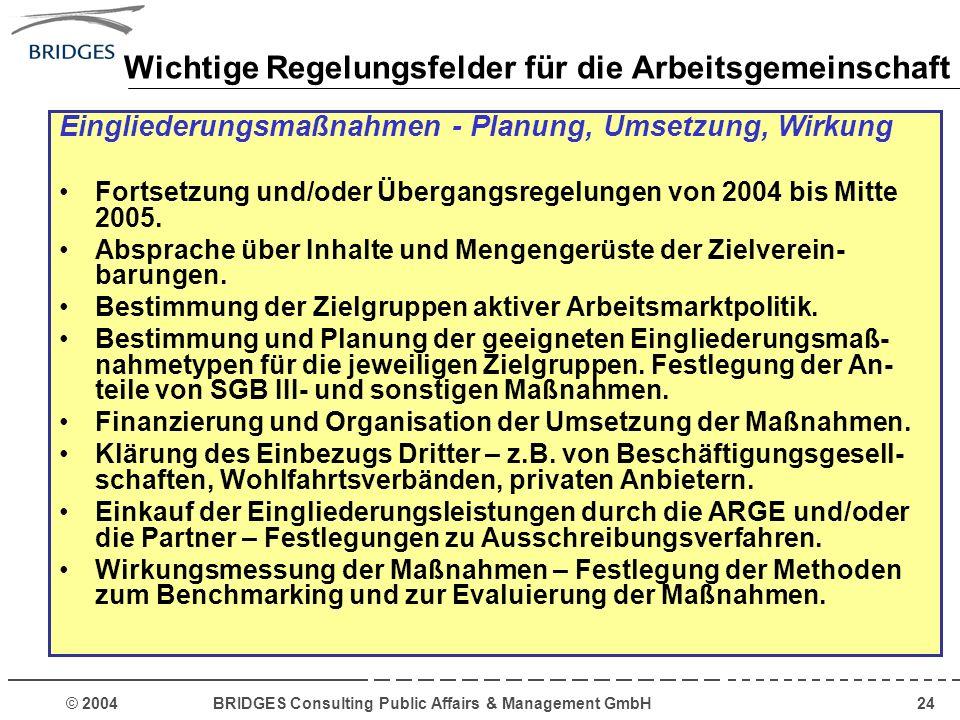© 2004 BRIDGES Consulting Public Affairs & Management GmbH24 Wichtige Regelungsfelder für die Arbeitsgemeinschaft Eingliederungsmaßnahmen - Planung, U