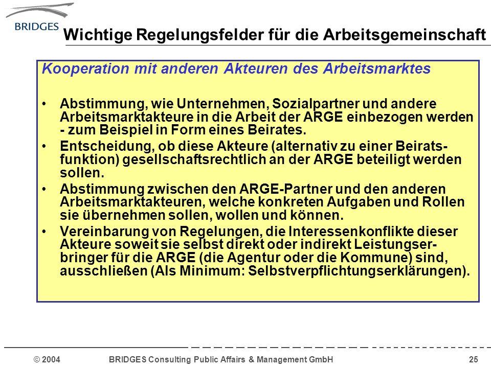 © 2004 BRIDGES Consulting Public Affairs & Management GmbH25 Wichtige Regelungsfelder für die Arbeitsgemeinschaft Kooperation mit anderen Akteuren des
