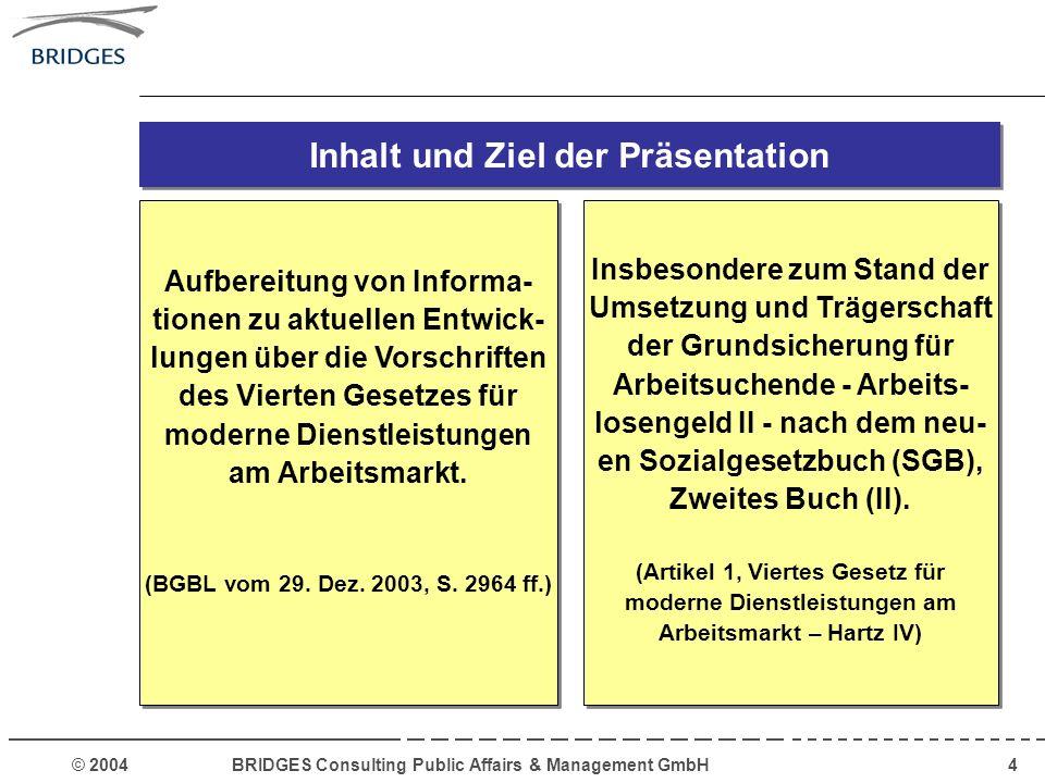 © 2004 BRIDGES Consulting Public Affairs & Management GmbH25 Wichtige Regelungsfelder für die Arbeitsgemeinschaft Kooperation mit anderen Akteuren des Arbeitsmarktes Abstimmung, wie Unternehmen, Sozialpartner und andere Arbeitsmarktakteure in die Arbeit der ARGE einbezogen werden - zum Beispiel in Form eines Beirates.
