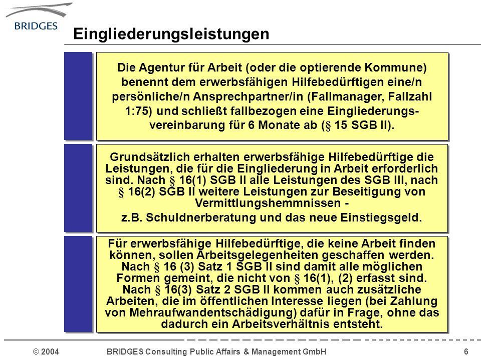 © 2004 BRIDGES Consulting Public Affairs & Management GmbH17 Weitere kritische Punkte sind zur Zeit: Aktuelle Debatte zur Umsetzung des SGB II Sicherstellung der versprochenen finan- ziellen Entlastung der Kommunen in Höhe von 2,5 Mrd.