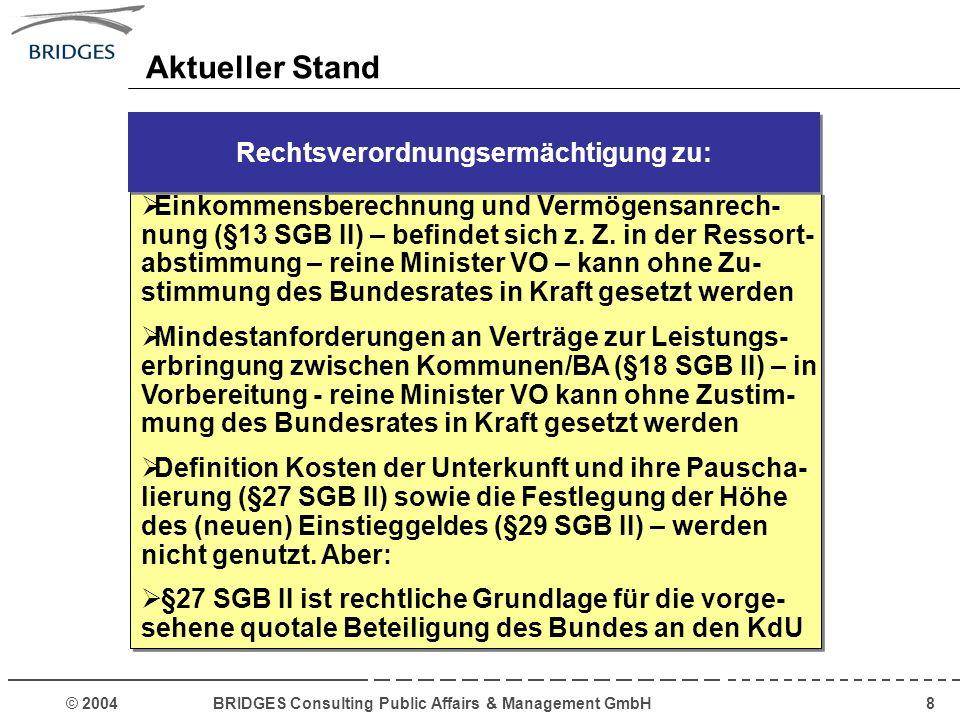 © 2004 BRIDGES Consulting Public Affairs & Management GmbH19 Die kommunalen Träger sollen die ihnen im Rahmen des SGB II obliegenden Aufgaben auf die ARGE übertragen: Die Aufsicht über die Arbeitsgemeinschaften führt das BMWA im Einvernehmen mit der zuständigen Obersten Landesbehörde.