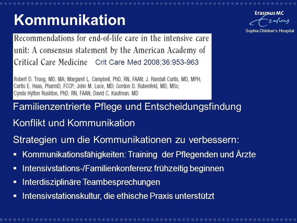 Sophia Childrens Hospital Kommunikation Crit Care Med 2008;36:953-963 Familienzentrierte Pflege und Entscheidungsfindung Konflikt und Kommunikation St