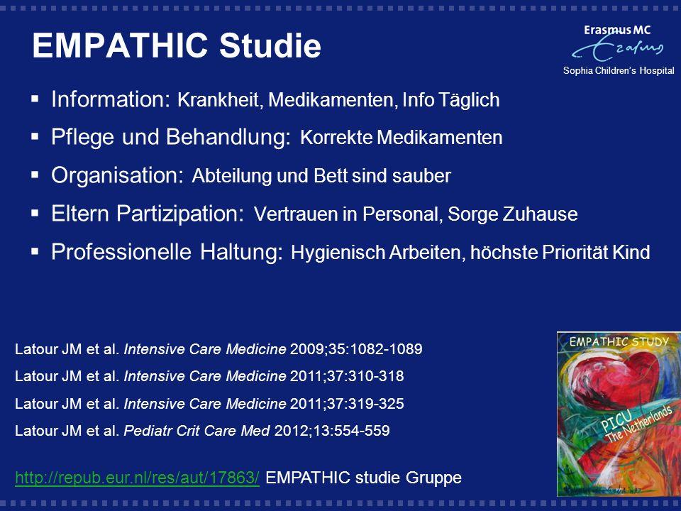 Sophia Childrens Hospital EMPATHIC Studie Information: Krankheit, Medikamenten, Info Täglich Pflege und Behandlung: Korrekte Medikamenten Organisation