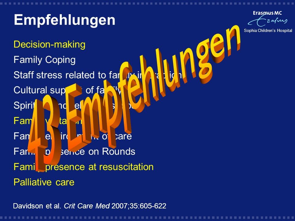 Sophia Childrens Hospital Empfehlungen Decision-making Family Coping Staff stress related to family interaction Cultural support of family Spiritual a