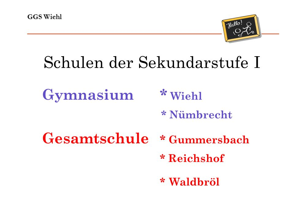 GGS Wiehl ______________________________________________________________ Gymnasium* Wiehl * Nümbrecht Gesamtschule * Gummersbach * Reichshof * Waldbrö