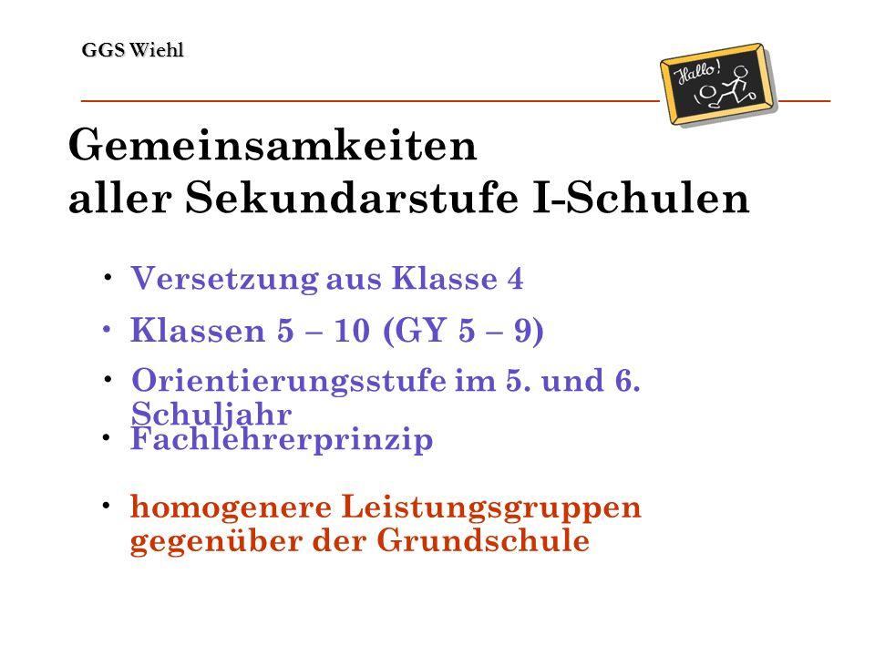 GGS Wiehl ______________________________________________________________ Gemeinsamkeiten aller Sekundarstufe I-Schulen Klassen 5 – 10 (GY 5 – 9) Fachl