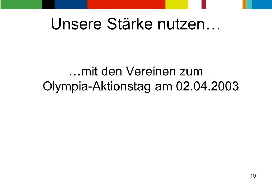 10 …mit den Vereinen zum Olympia-Aktionstag am 02.04.2003 Unsere Stärke nutzen…