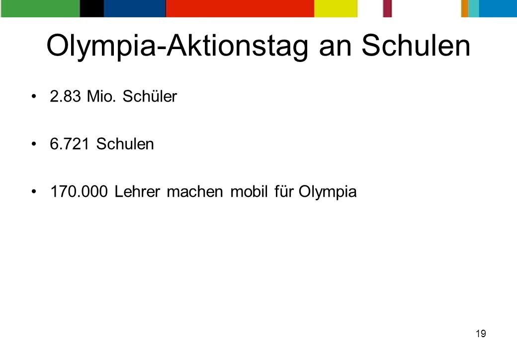 19 Olympia-Aktionstag an Schulen 2.83 Mio.