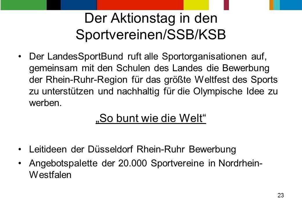 23 Der Aktionstag in den Sportvereinen/SSB/KSB Der LandesSportBund ruft alle Sportorganisationen auf, gemeinsam mit den Schulen des Landes die Bewerbu